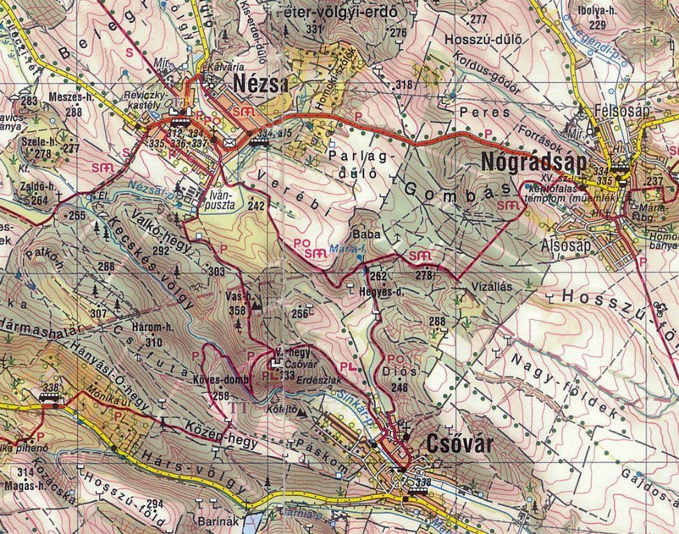 csővár térkép Cső vár Cserhát